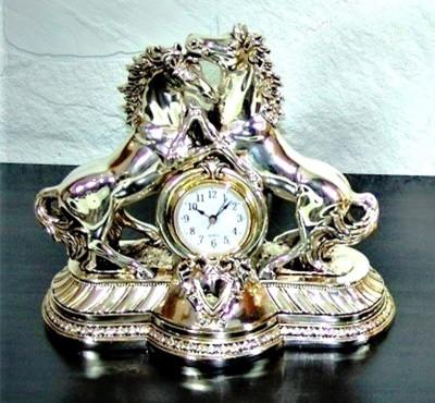 Diğer - 2li At Figürlü Masa Saati Kaplama Gümüş Renkli