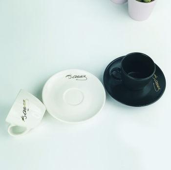 2li Atatürk İmzalı Kahve Fincanı Seti Siyah Beyaz