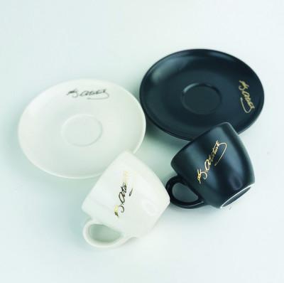 2li Atatürk İmzalı Kahve Fincanı Seti Siyah Beyaz - Thumbnail