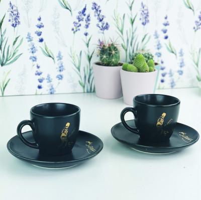 Diğer - 2li Atatürk İmzalı Ve Silüetli Kahve Fincanı Seti Siyah