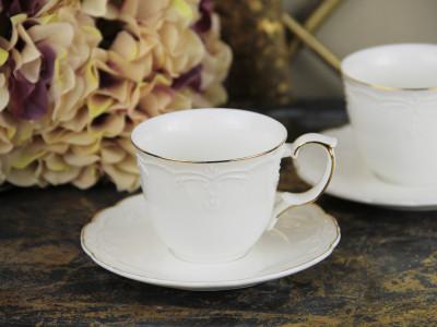 Diğer - 2li Classic Altın Yaldızlı Porselen Kahve Fincanı Seti