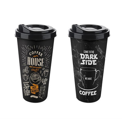 Diğer - 2li Coffee Plastik Termos Bardak Asorti 650ml