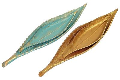Diğer - 2li Dekoratif Yaprak Şeklinde Varaklı Kayık Tabak Gold
