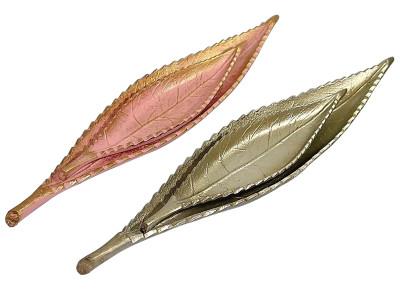 Diğer - 2li Dekoratif Yaprak Şeklinde Varaklı Kayık Tabak Pembe