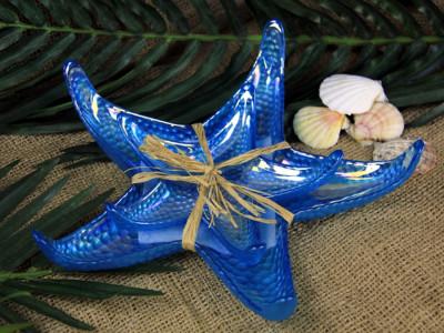 Diğer - 2li Deniz Yıldızı Şeklinde Dekoratif Tabak Seti Mavi