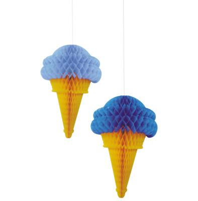 Diğer - 2li Dondurma Şeklinde Petek Parti Dekor Süsü Mavi