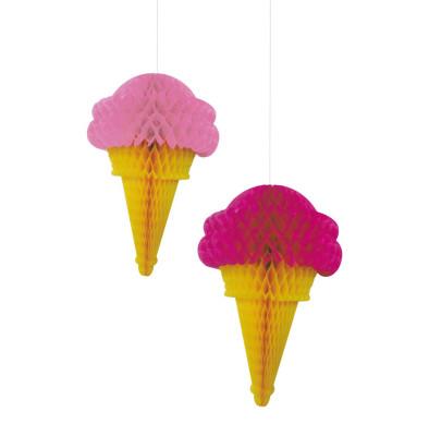 Diğer - 2li Dondurma Şeklinde Petek Parti Dekor Süsü Pembe