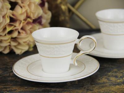 Diğer - 2li Flowers Altın Yaldızlı Porselen Kahve Fincanı Seti
