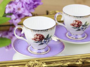 2li Gül Desenli Bone China Kahve Fincanı Seti Mor