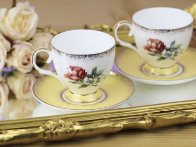 Diğer - 2li Gül Desenli Bone China Kahve Fincanı Seti Sarı