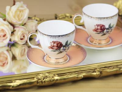Diğer - 2li Gül Desenli Bone China Kahve Fincanı Seti Somon
