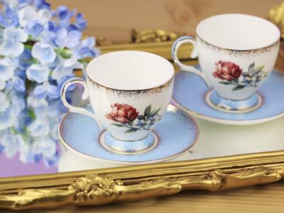 Diğer - 2li Gül Desenli Bone China Kahve Fincanı Seti Turkuaz