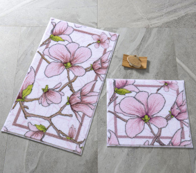 Confetti - 2li Interlace Manolyalar Banyo Halısı Takımı Pembe