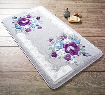 Confetti - 2li June Çiçekli Banyo Halısı Takımı Mor