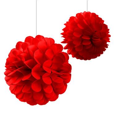 Diğer - 2li Kağıt Top Dekoratif Asma Parti Süsü Kırmızı