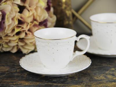 Diğer - 2li King Altın Yaldızlı Porselen Kahve Fincanı Seti