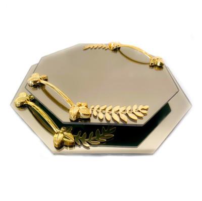 Diğer - 2li Kulplu Sekizgen Cam Söz Nişan Tepsisi Gold