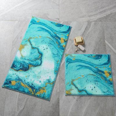 Confetti - 2li Marbling Turkuaz Banyo Halısı Takımı
