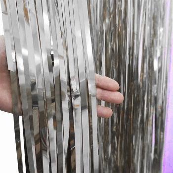 2li Metalik Folyo Kapı ve Duvar Süsleme Perdesi Gümüş