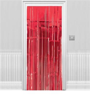 Diğer - 2li Metalik Folyo Kapı ve Duvar Süsleme Perdesi Kırmızı