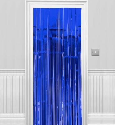 Diğer - 2li Metalik Folyo Kapı ve Duvar Süsleme Perdesi Mavi
