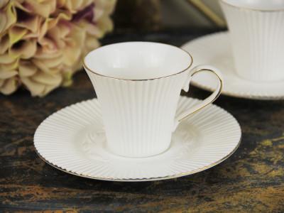 Diğer - 2li Modern Altın Yaldızlı Porselen Kahve Fincanı Seti