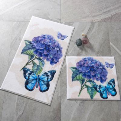 Confetti - 2li Morpho Kelebek Desenli Banyo Halısı Takımı