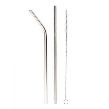2li Paslanmaz Metal Pipet ve Temizleme Fırçası