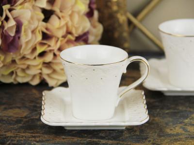 Diğer - 2li Queen Altın Yaldızlı Porselen Kahve Fincanı Seti