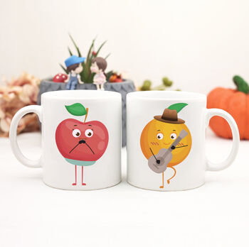 2li Sevimli Meyveler Sevgili Çift Kupa Bardak Seti