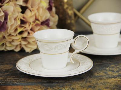 Diğer - 2li Spring Altın Yaldızlı Porselen Kahve Fincanı Seti