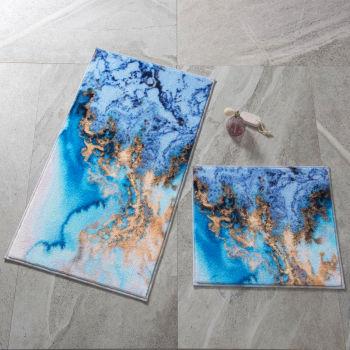 2li Su Köpüğü Desenli Banyo Halısı Takımı