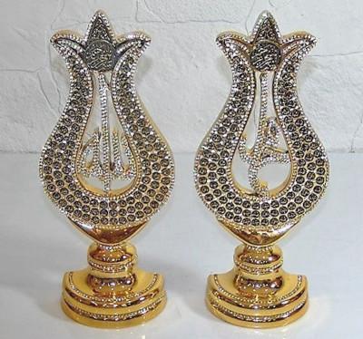 Diğer - 2li Taşlı Lale Esmaül Hüsna Lafız Seti Lüks Biblo 15x35cm Gold