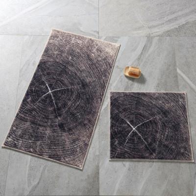 Confetti - 2li Timber Ağaç Tasarımlı Banyo Halısı Takımı Kahve