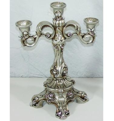 Diğer - 3 Bölmeli Antik Şamdan Gümüş