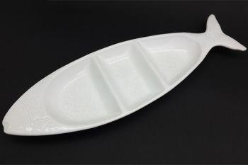 3 Bölmeli Seramik Balık Şeklinde Yatay Çerezlik ve Sosluk Beyaz 37cm.