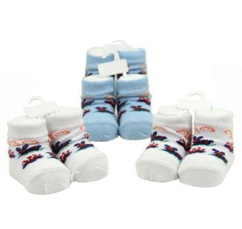 3 Çift Yeni Doğan Erkek Bebekler İçin Çorap Mavi-Beyaz