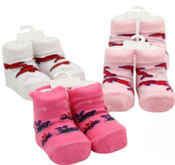 3 Çift Yeni Doğan Kız Bebekler İçin Çorap Pembe-Beyaz