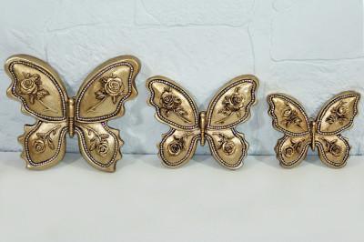 Diğer - 3 Farklı Boy Taşlı ve Çiçek Süslü Kelebek Panolar Gold