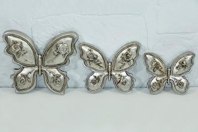 Diğer - 3 Farklı Boy Taşlı ve Çiçek Süslü Kelebek Panolar Gümüş