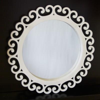 Diğer - 3 Farklı Boyda Kenarları Motifli Süslenebilir Ayna Seti Beyaz