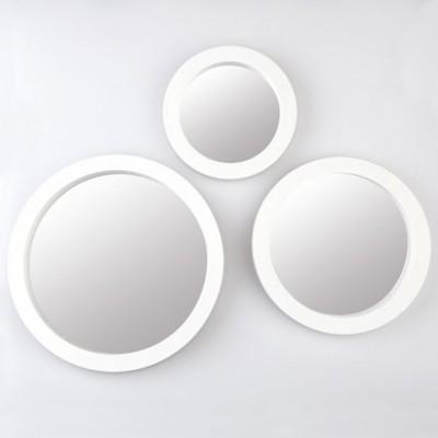 Diğer - 3 Farklı Boyda Yuvarlak Süslenebilir Ayna Seti Beyaz