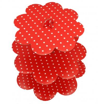 Diğer - 3 Katlı Çift Taraflı Karton Cupcake Stand Kırmızı