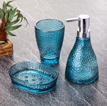 3 Parça Dalga Desenli Cam Banyo Seti Mavi
