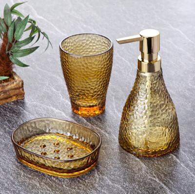 Diğer - 3 Parça Dalga Desenli Cam Banyo Seti Sarı