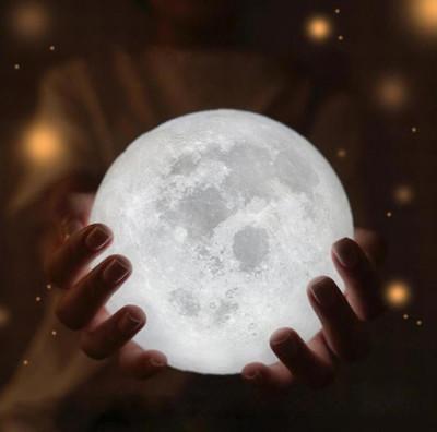 3D Ay Gece Lambası Dekoratif Küre Led Başucu Lambası Beyaz - Thumbnail