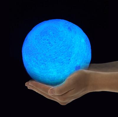 Diğer - 3D Ay Gece Lambası Dekoratif Küre Led Başucu Lambası Mavi