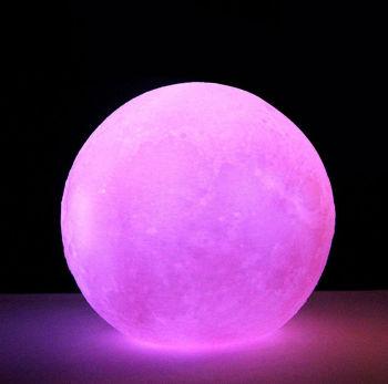 3D Ay Gece Lambası Dekoratif Küre Led Başucu Lambası Pembe