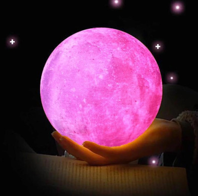 3D Ay Gece Lambası Dekoratif Küre Led Başucu Lambası Pembe - Thumbnail