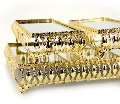 Diğer - 3lü Aynalı Dikdörtgen Jardinyer Set Gold